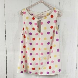 Modcloth Yellow Pink Red Polka Dot Tank Top Blouse